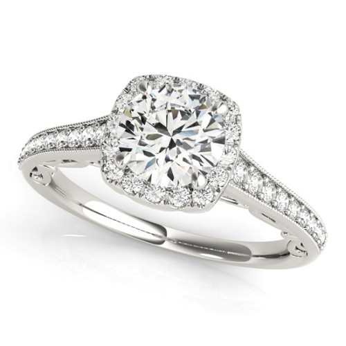 Diamond Halo Engagement Ring for a Round Stone in 14KT White Gold 50854-E