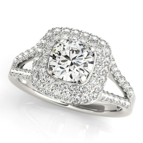 Diamond Halo Engagement Ring for a Round Stone in 14KT White Gold 50848-E-A