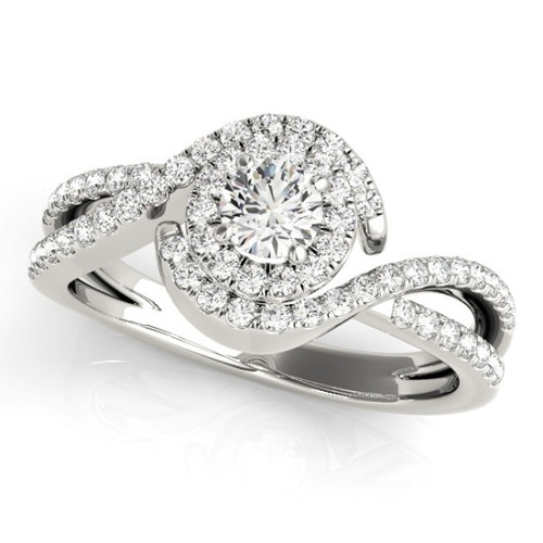 Diamond Halo Engagement Ring for a Round Stone in 14KT White Gold 50989-E