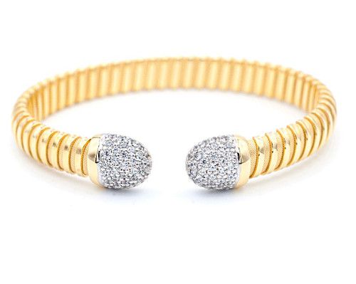 Italian Silver & Cubic Zirconia Wide Cuff Bangle  Gold Plated BRAG79