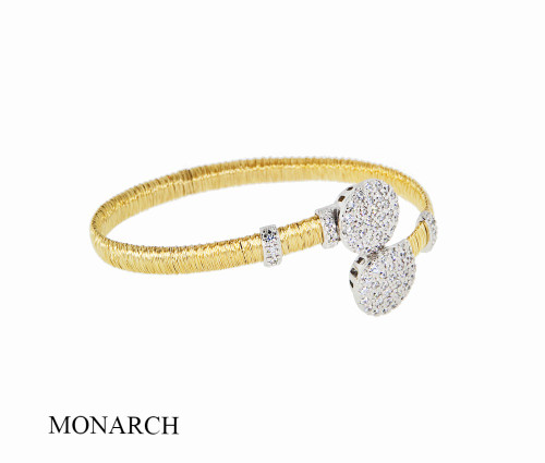Italian Silver & Cubic Zirconia Wide Cuff Bangle  Gold Plated BRGG0114