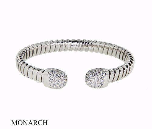 Italian Silver & Cubic Zirconia Wide Cuff Bangle  Gold Plated DF2100