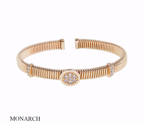 Italian Silver & Cubic Zirconia Wide Cuff Bangle  Gold Plated BRGG0126