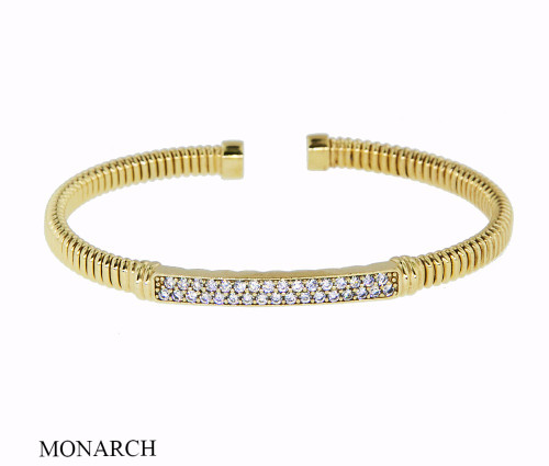 Italian Silver & Cubic Zirconia Wide Cuff Bangle  Gold Plated DF1921-3