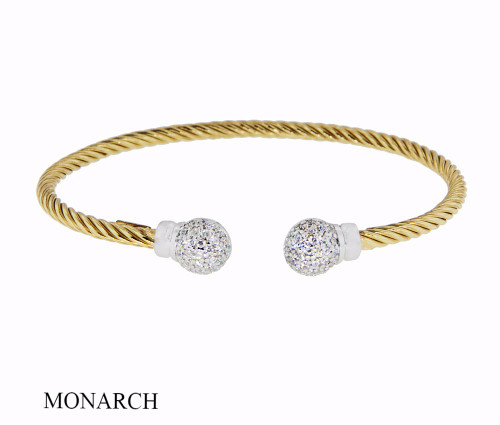 Italian Silver & Cubic Zirconia Wide Cuff Bangle  Gold Plated GABR46