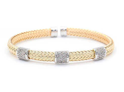 Italian Silver & Cubic Zirconia Wide Cuff Bangle  Gold Plated GABR281
