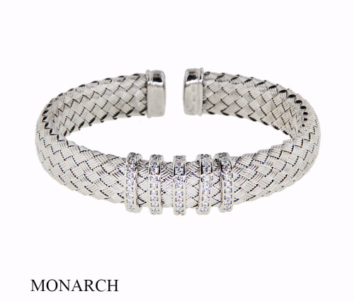Italian Silver & Cubic Zirconia Wide Cuff Bangle  Gold Plated STELLAC