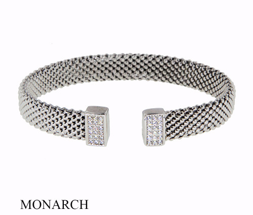 Italian Silver & Cubic Zirconia Wide Cuff Bangle  Gold Plated TR5110MG