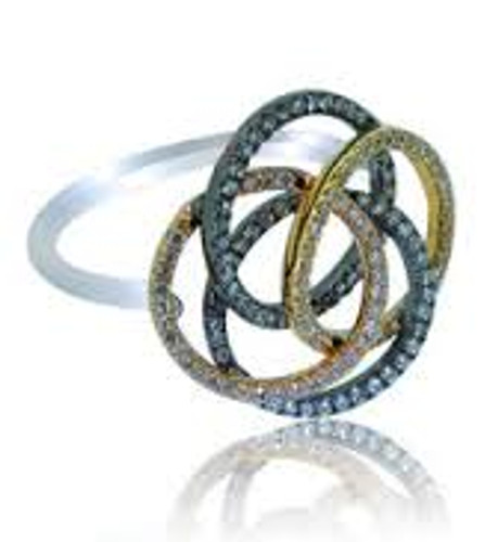 14 KT Tri-Colored Gold Love Knot Intertwining Circle Fashion Ring