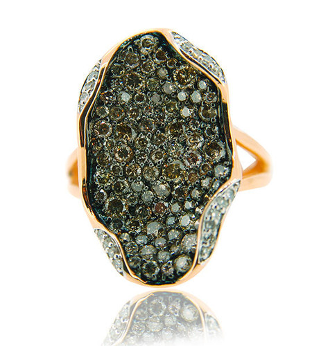 14KT Rose Gold Round Cut Champagne Diamond Fashion Ring