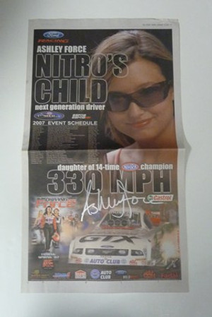 "ASHLEY FORCE ""AUTOGRAPHED USA TODAY NITRO'S CHILD AD"" John Force Racing"