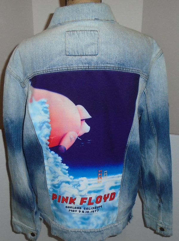 WOLFGANG'S DESIGNS BY DRAGONFLY DENIM JACKET PINK FLOYD MENS