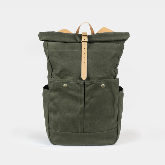 Roll Top Backpack - Olive