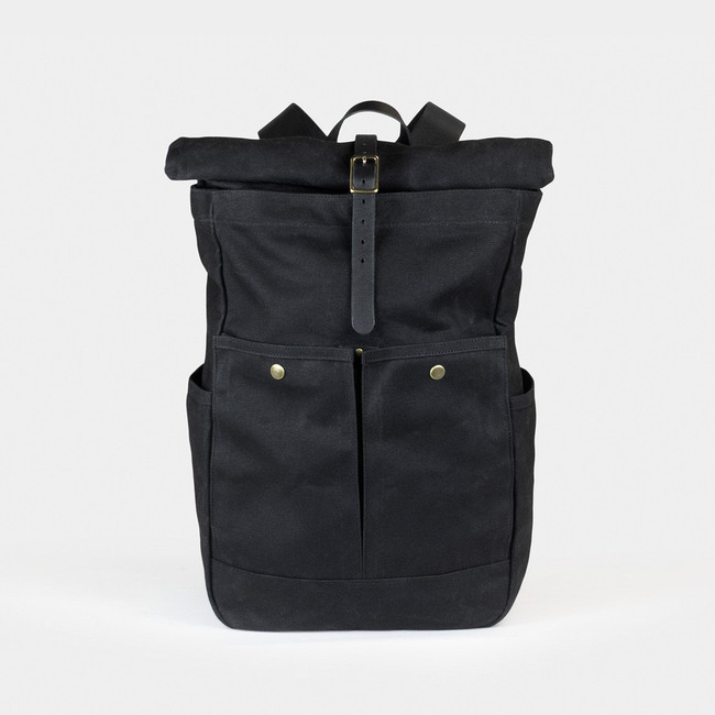 Roll Top Backpack - Black