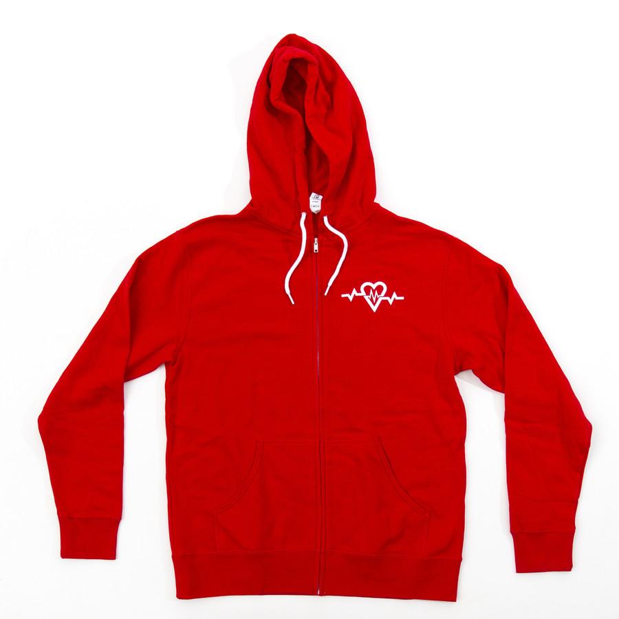 Script Red Zip Up - Hoodie