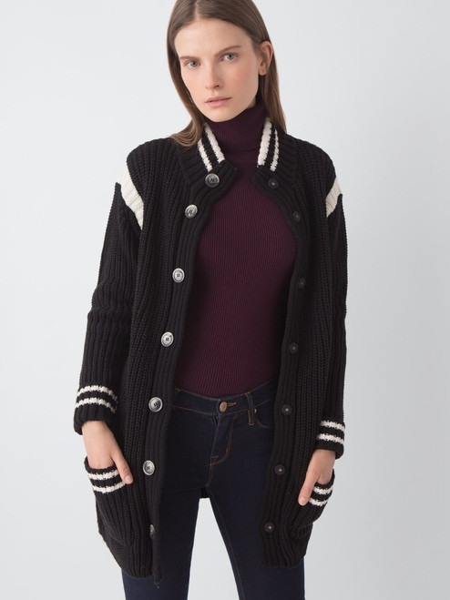 Varsity Stripe Snap Front Shaker Sweater Coat