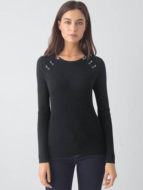 Rib Crew Neck with Piercing Detail Sweater