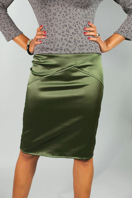 Jacey Pencil Skirt {Olive green}