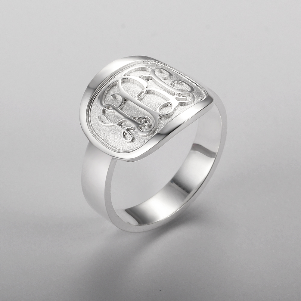 Personalized 925 Sterling Silver Monogram Ring - RI102309