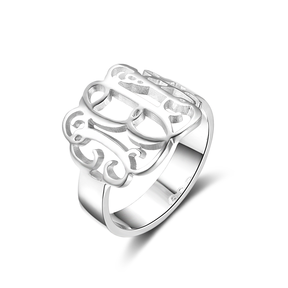 Personalized 925 Sterling Silver Monogram Ring - RI102312