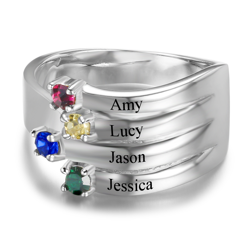 Personalised Birthstone & Engraved Sterling Silver Ring