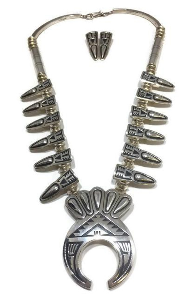 """Chaco Canyon silver squash blossom necklace with earrings. Navajo made with an artist stamp of """"JT""""."""