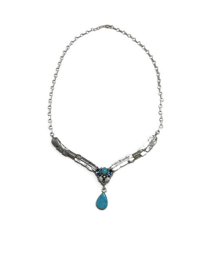 Native American made turquoise,swiss blue topaz, and opal necklace.