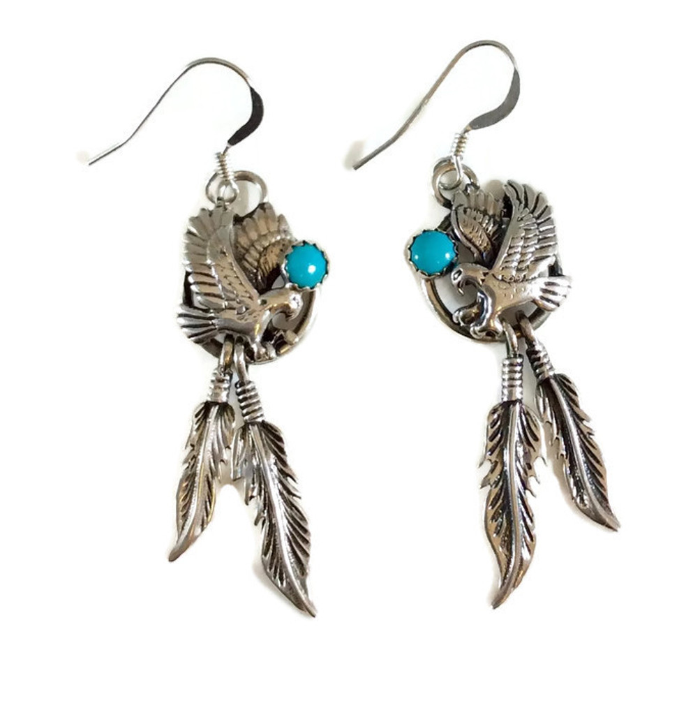 Sleeping Beauty Turquoise  Eagle Earrings with Dangling Feathers