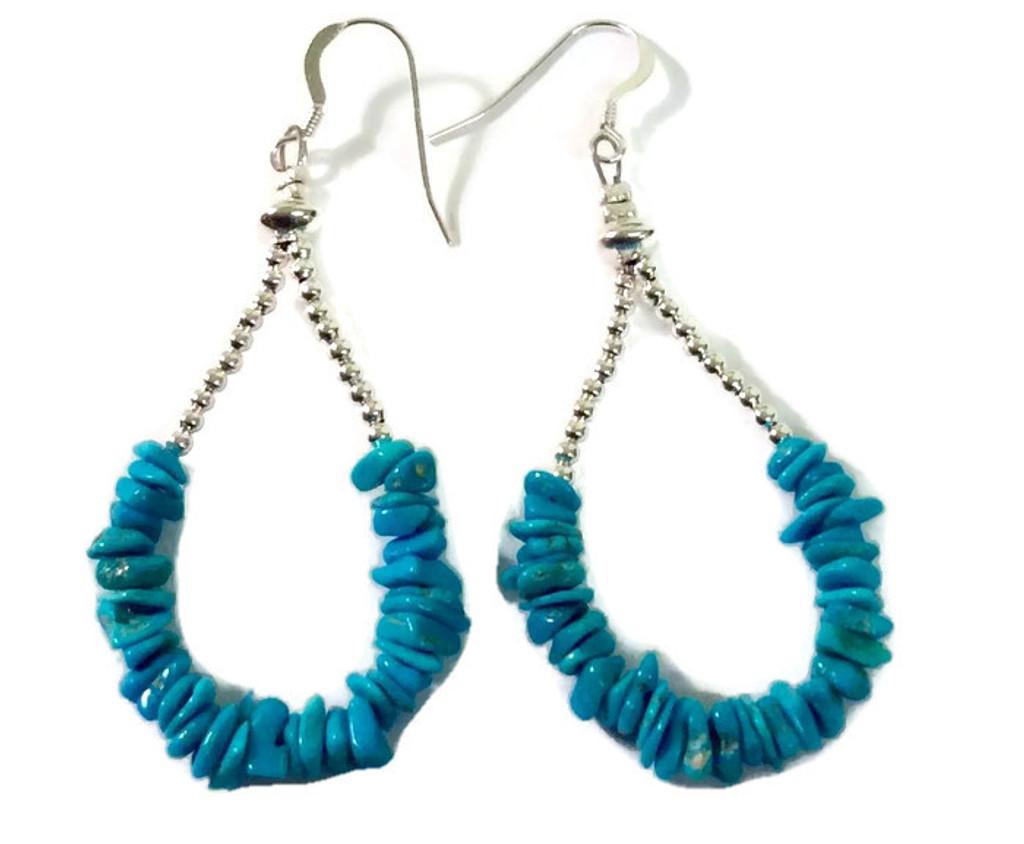Turquoise and Silver Bead Hoop Earrings