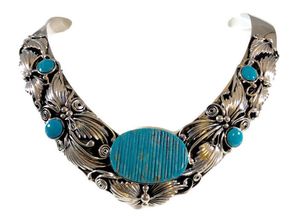 Kingman Turquoise Cornrow Collar Necklace .925 Sterling Silver