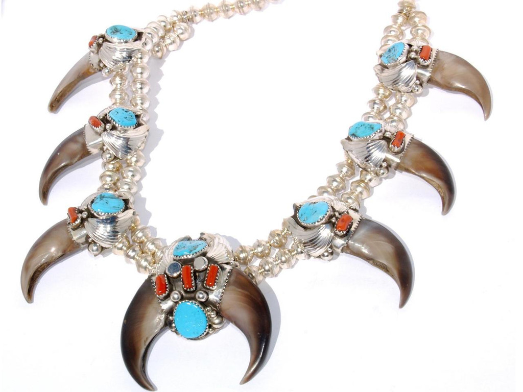 Turquoise and Coral Natural Claw Naja Squash Blossom  Navajo Tribe Native American Jewelry Artist: Elaine Sam