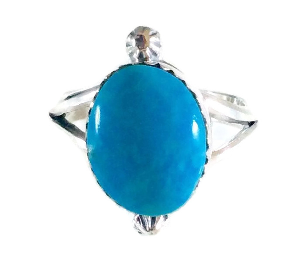 Kingman Turquoise with Stardrops Ring Navajo Tribe Native American Jewelry .925 Sterling Silver Artist: Sheena Jack