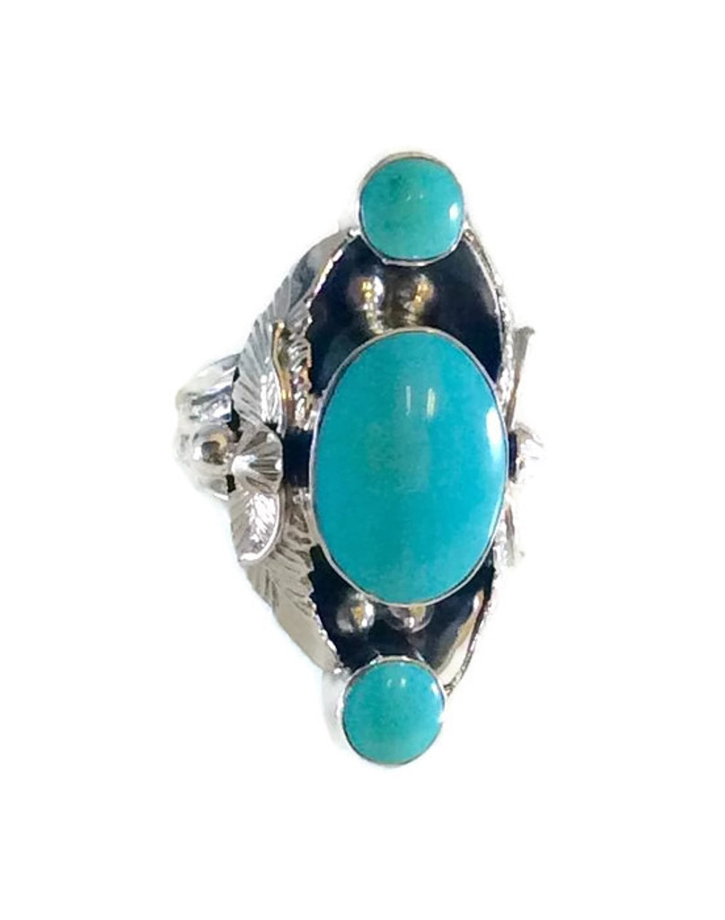 Kingman Turquoise Ring .925 Sterling Silver Artist: Clarence Long Navajo Tribe Native American Jewelry