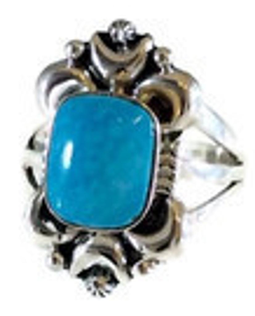 Rectangular Kingman Turquoise Ring with Moon Castings Artist: Marie Jones .925 Sterling Silver