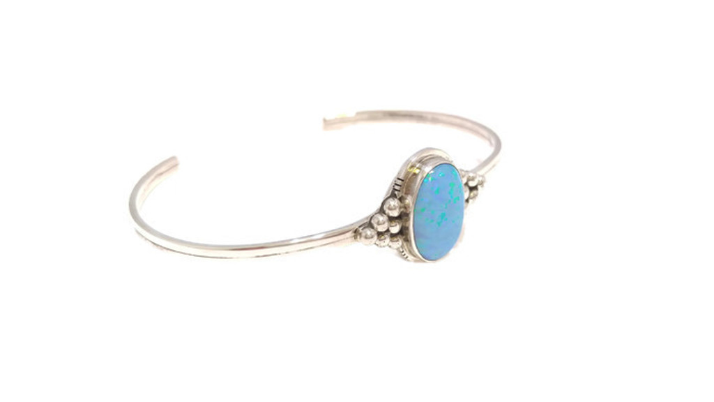 Blue Opal Sterling Silver Cuff Bracelet with Drops Navajo Tribe Native American Jewelry .925 Sterling Silver Handcrafted
