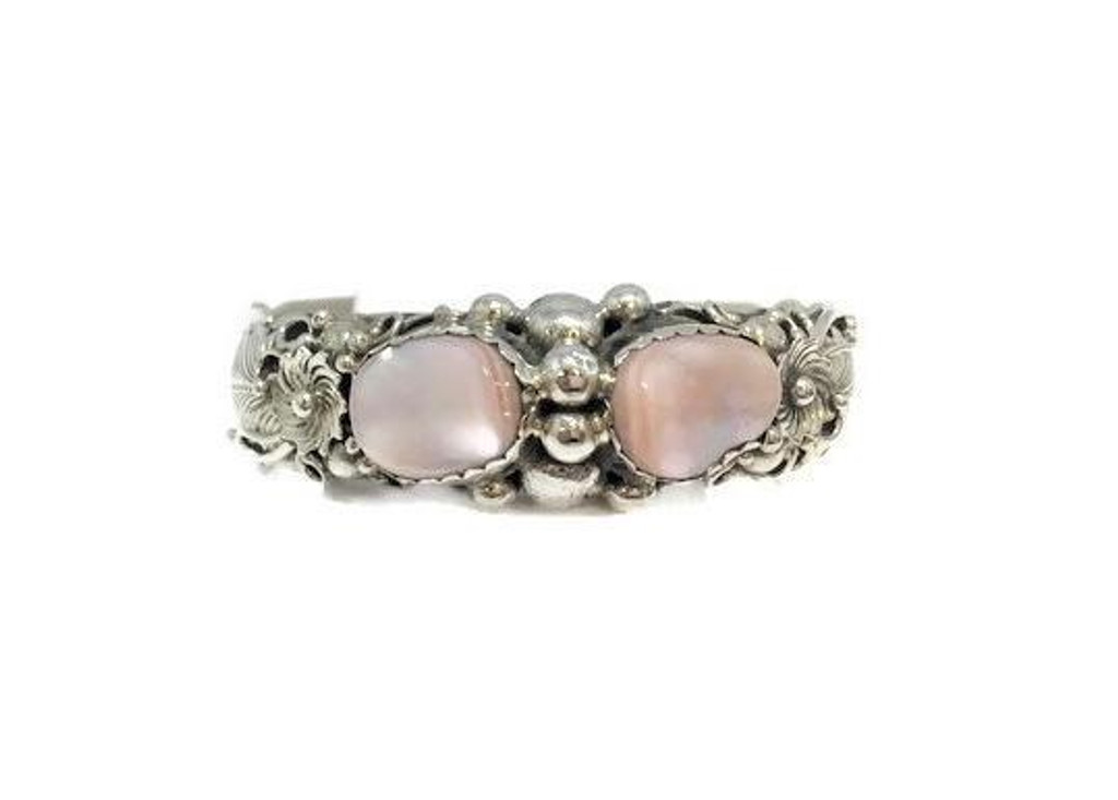 Pink Mussel Shell Stones .925 Sterling Silver  Navajo Tribe Native American Jewelry Handcrafted