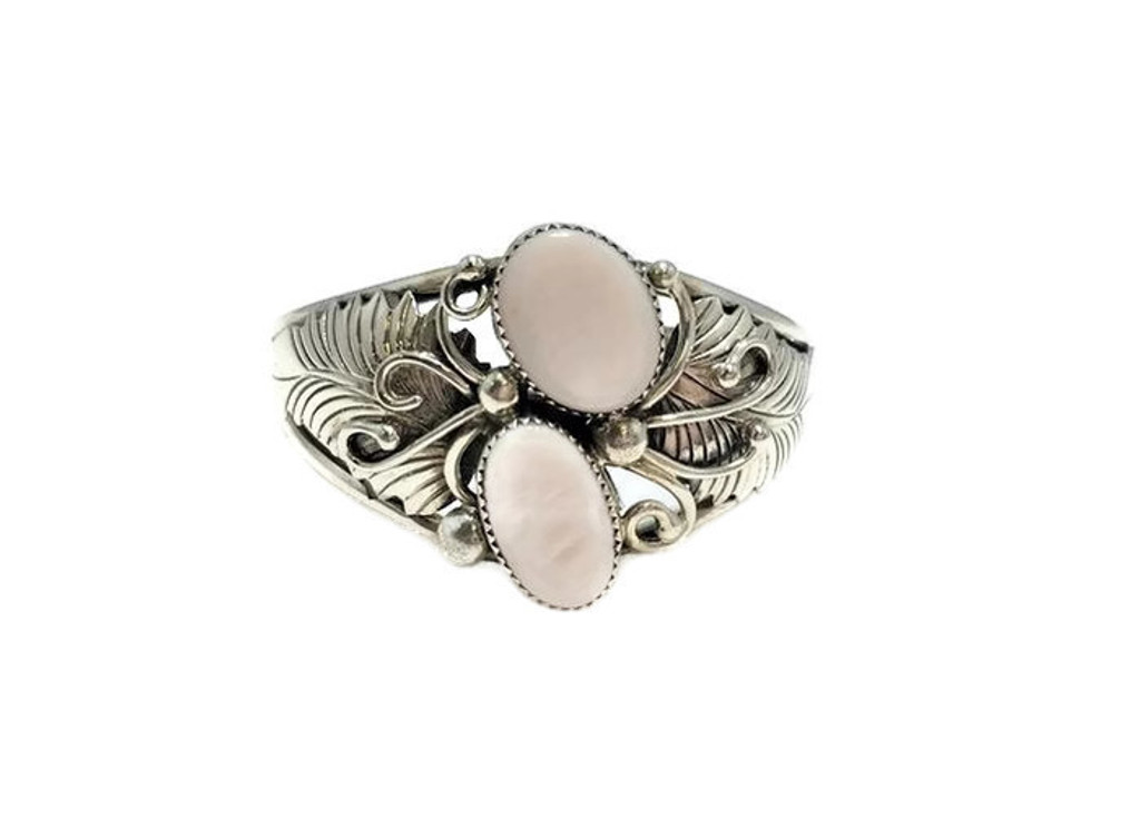 Double Oval Pink Mussel Shell Stones .925 Sterling Silver Navajo Tribe Native American Jewelry Handcrafted