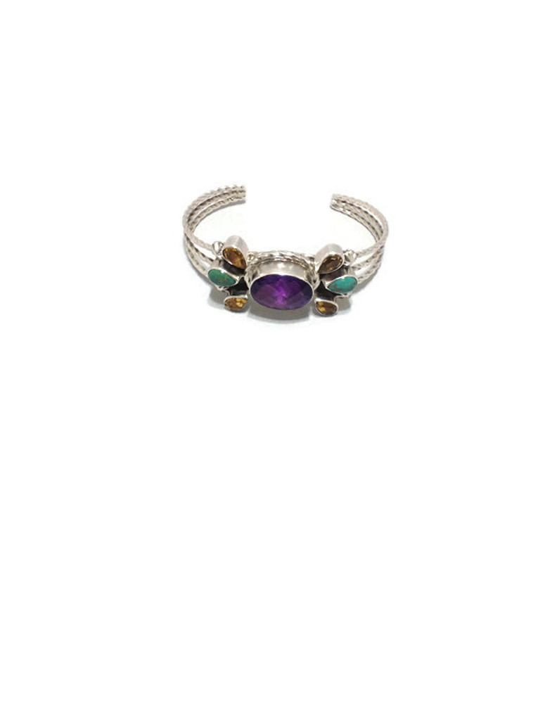 Chaco Canyon Amethyst, Citrine & Turquoise Cuff Bracelet