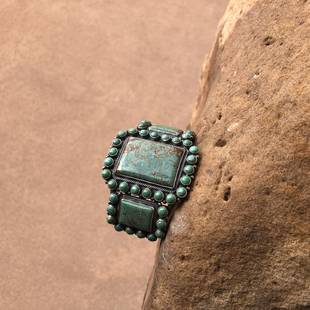 Chaco Canyon Kirk Smith Green Turquoise Cuff Bracelet