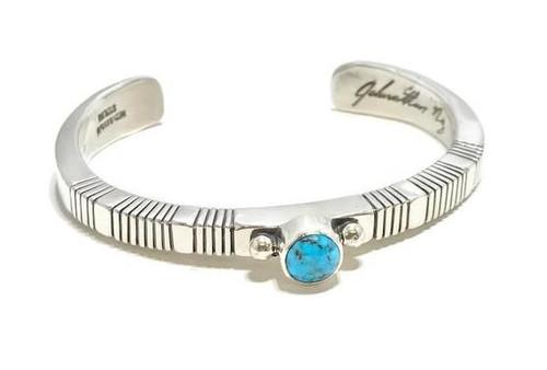Navajo artist Johnathan Nez, handmade turquoise cuff bracelet.