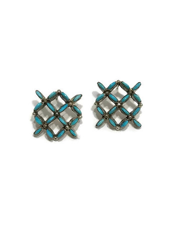 Zuni made needlepoint turquoise earrings.