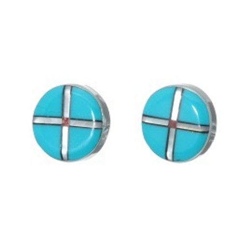 Zuni Cross Earrings Handcrafted in the USA Sleeping Beauty, shell, jet, and coral