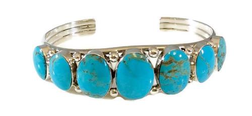 7 Stone Cuff  Kingman Turquoise Artist: Irvin Tsosie