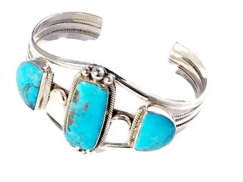 3-stone Kingman Turquoise Cuff