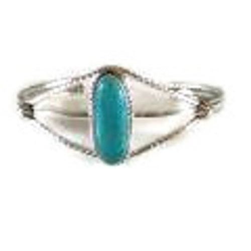 Kingman Turquoise with Twist Wire Cuff Bracelet