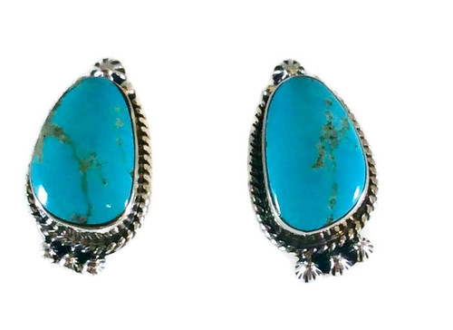 Pear Shaped Kingman Turquoise Stud Earrings