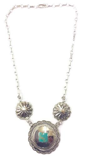 Square Kingman Turquoise Concho Necklace .925 Sterling Silver Navajo Tribe Native American Jewelry Artist: Harrison Joe
