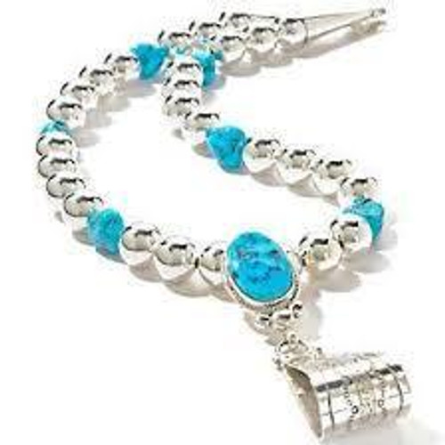 Silver Beaded and Turquoise Beaded Necklace