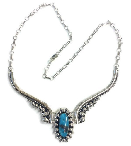 Oval Turquoise Drop Necklace Navajo Tribe Native American Jewelry  Sterling Silver Handcrafted