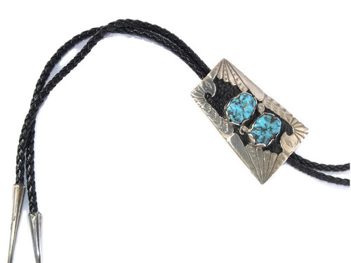 Sleeping Beauty Turquoise Bolo Tie .925 Sterling Silver Handcrafted